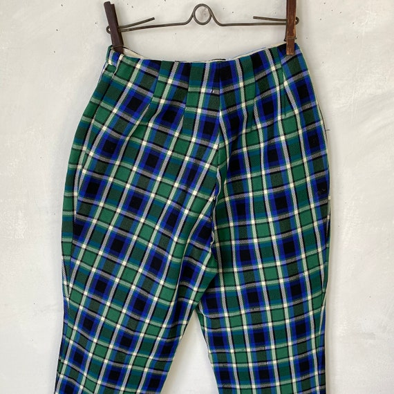 Henry Ours Paris Plaid Wool Polyester Pants 1960s… - image 9