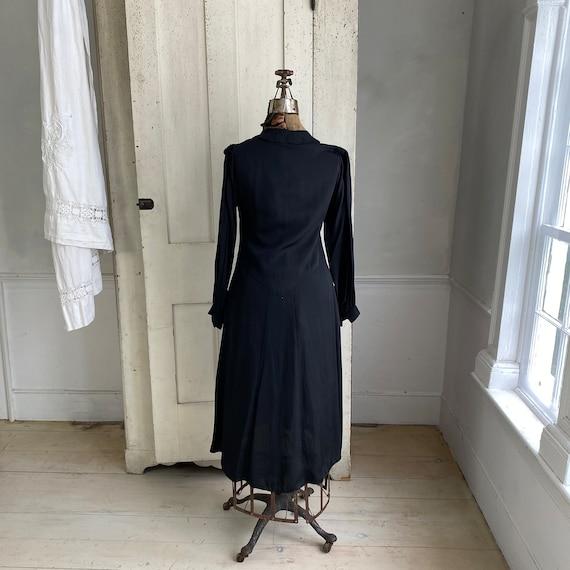 Black rayon dress 1930's 1940's fashion French dr… - image 8