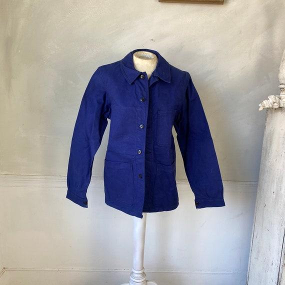 Vintage Jacket French Workwear Blue Jacket Faded … - image 2