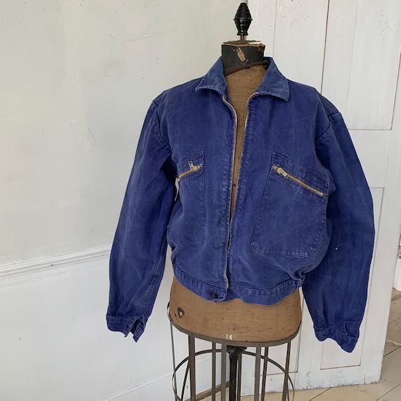 Vintage Jacket French Workwear Dark Blue Coat Zip… - image 1