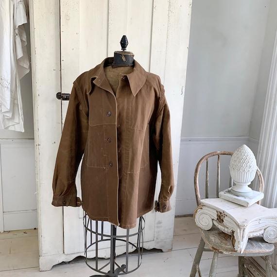 Vintage Canvas Jacket Heavy Brown Cotton Unused Fr