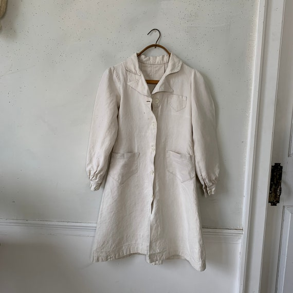 Vintage French Small Linen Jacket Workwear Button