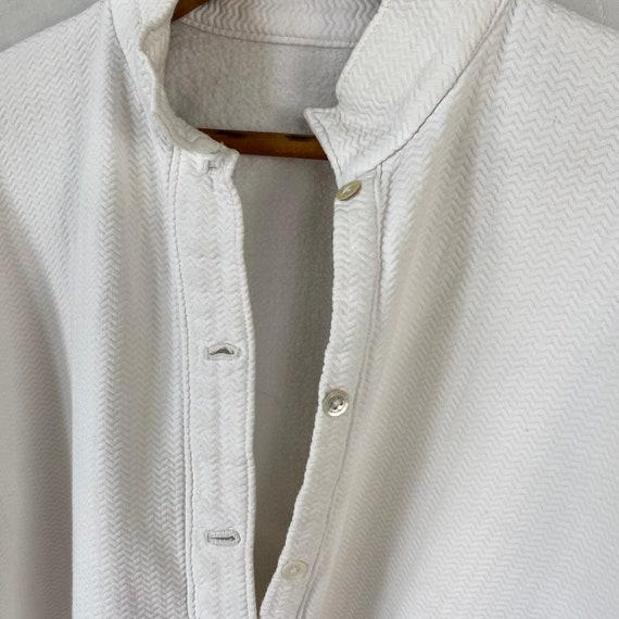 White Brushed Cotton Shirt Textured Sleepwear 192… - image 6