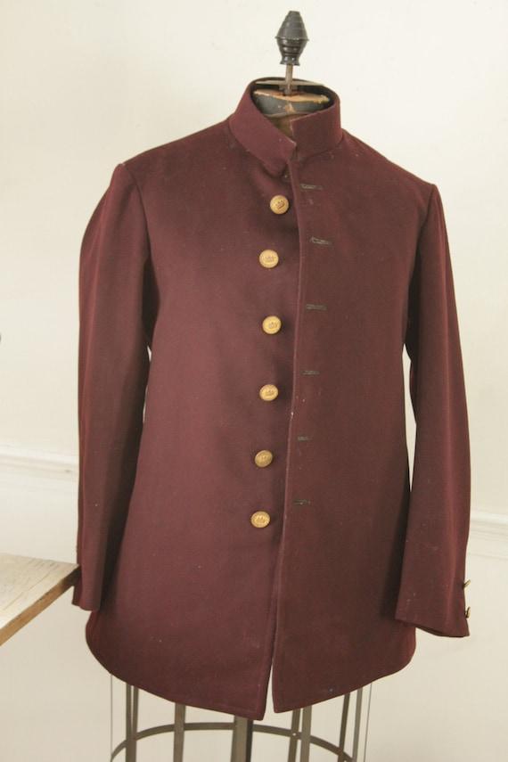 Vintage Bellhop's Jacket 1930s Burgundy Felted Woo
