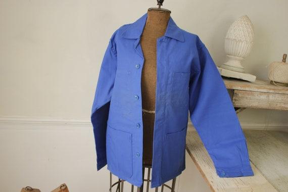 Jacket Vintage French Blue Coat Work wear button … - image 3