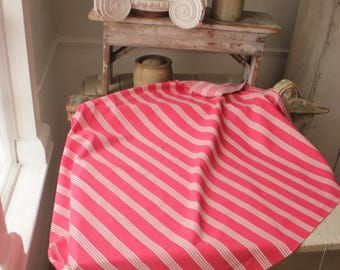 Antique French Fabric Ticking Striped Material dusty red with White Stripes 1930 Sewing Upholstery Pillows Projects Quilting