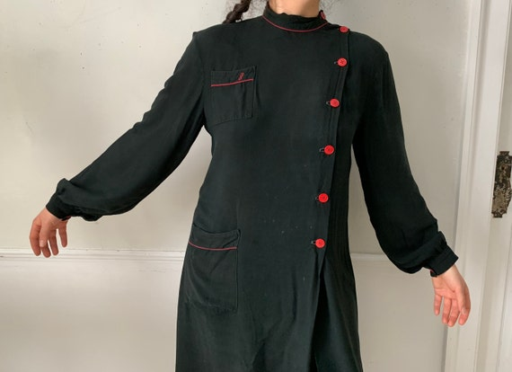 Vintage Black Smock or Housedress French Workwear