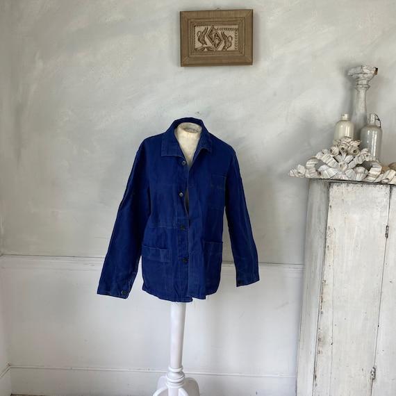 Vintage Jacket French Workwear Blue Jacket 1940s … - image 1