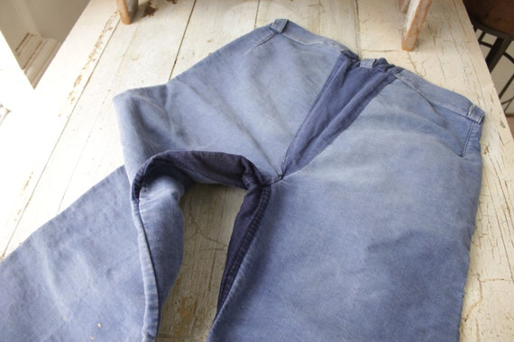 Vintage Pants French workwear moleskin faded blue