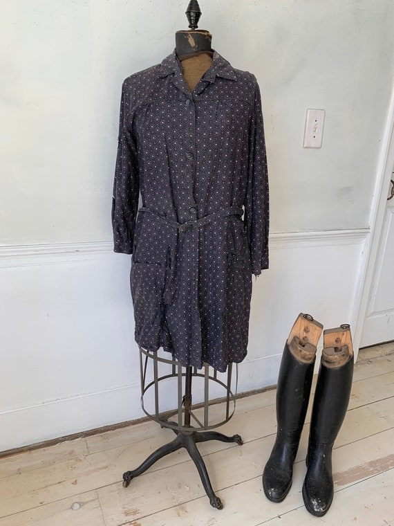 1930's house coat dress purple plaid cotton French