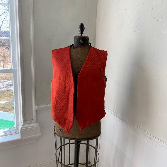 Antique French vest / waistcoat red silk 1880 garm