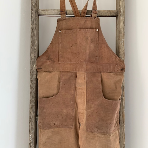 "Vintage Overalls French  Denim 1930-40s antique ""… - image 3"