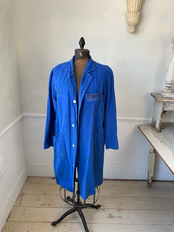 Vintage Jacket French Long Prussian Blue Lab Coat