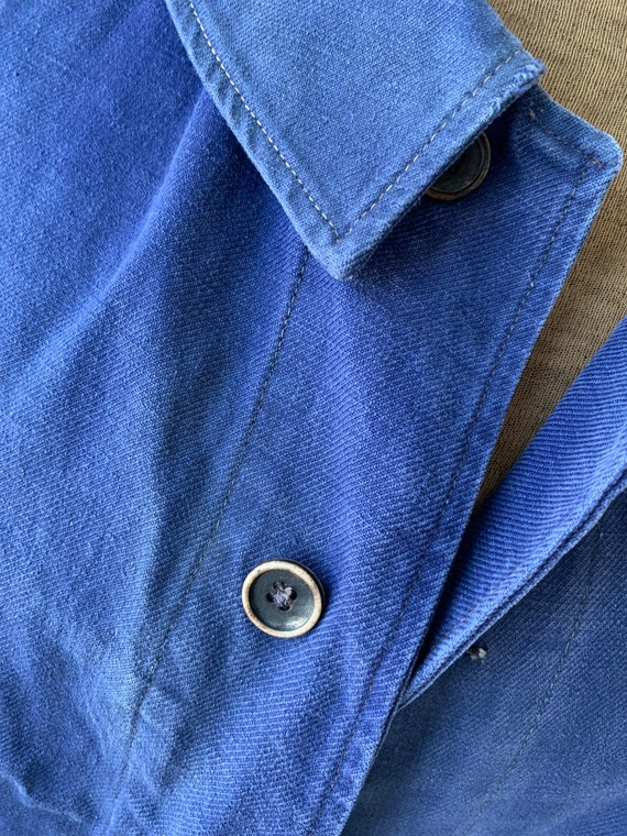 Vintage French Workwear Jacket Faded Antique Fren… - image 2