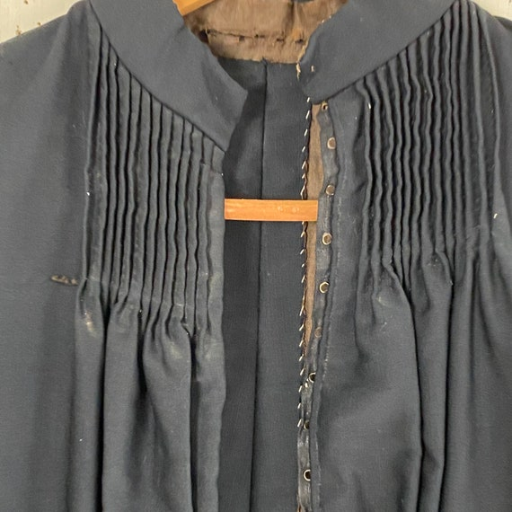 Victorian French Shirt Black Silk Blouse or Antiq… - image 6