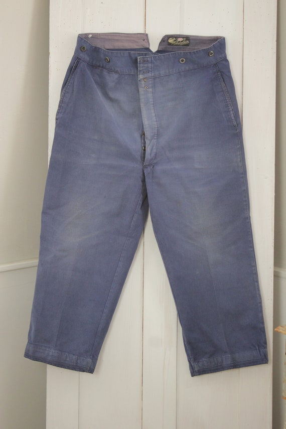 Vintage Pants French work wear dark blue denim jeans faded hipster trousers or slacks 35 inch waist