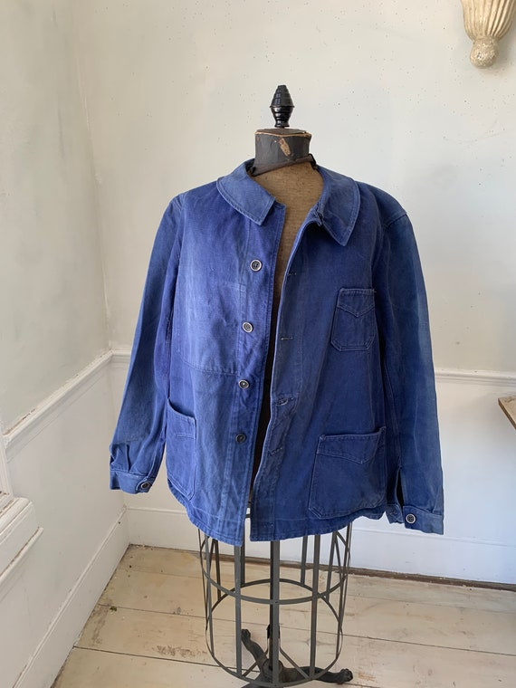 Vintage French Workwear Jacket Faded Antique Frenc