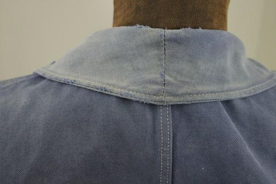 Jacket French work wear Faded Antique Blue Denim … - image 9
