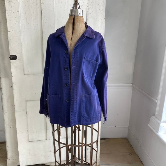 Vintage Jacket French Workwear Faded Antique Dark… - image 4