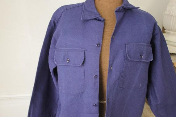 Shirt Blue Heavy cotton or light jacket Vintage F… - image 6
