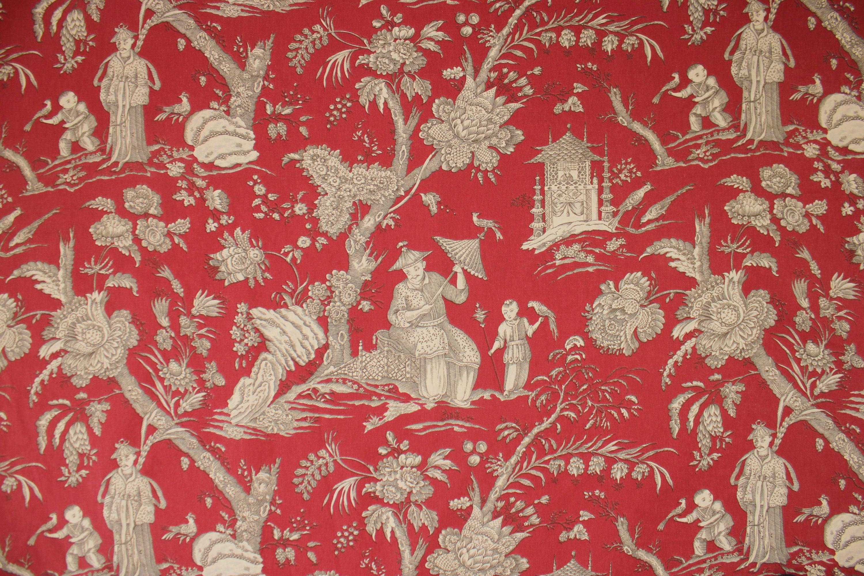 Français de tissu rouge noir noir noir et blanc chinoiserie toile motif fin 1980 lourd coton scènes grand un panneau imprimé MFTA France «Ming» 87e963