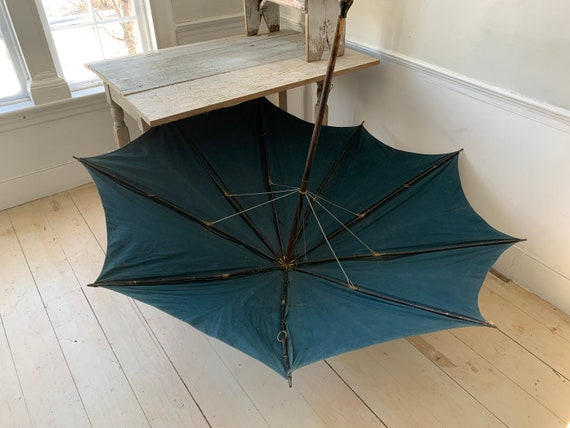 Antique Shepherd's Umbrella French Parasol Indigo