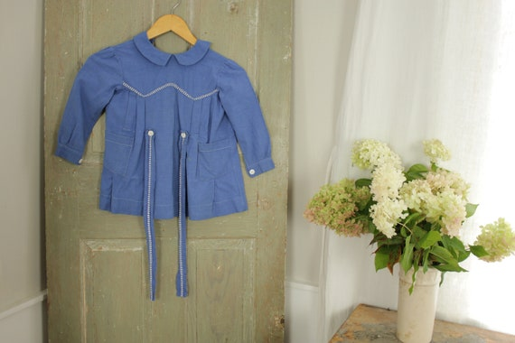 Girl's Dress Tunic French 1940's small blue cotton