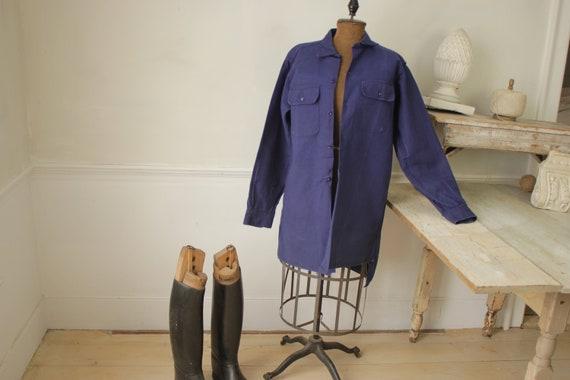 Shirt Blue Heavy cotton or light jacket Vintage F… - image 1