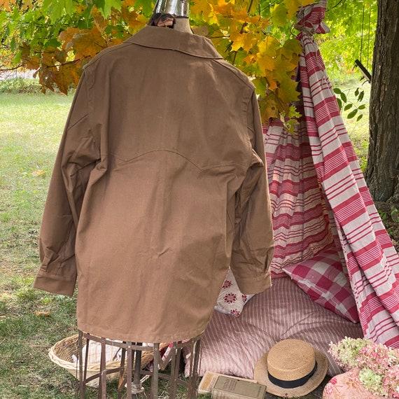 Vintage Canvas Jacket Heavy Brown Cotton Unused F… - image 10