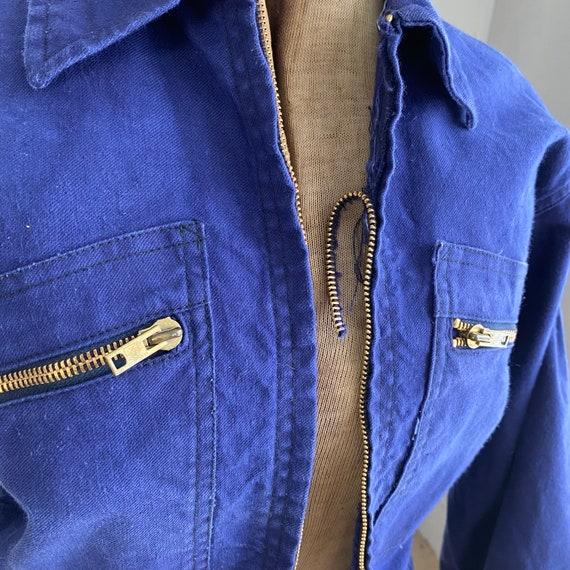 Vintage Jacket French Workwear Dark Blue Coat Zip… - image 7