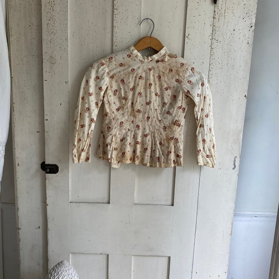 Antique French blouse Child's shirt small calico c