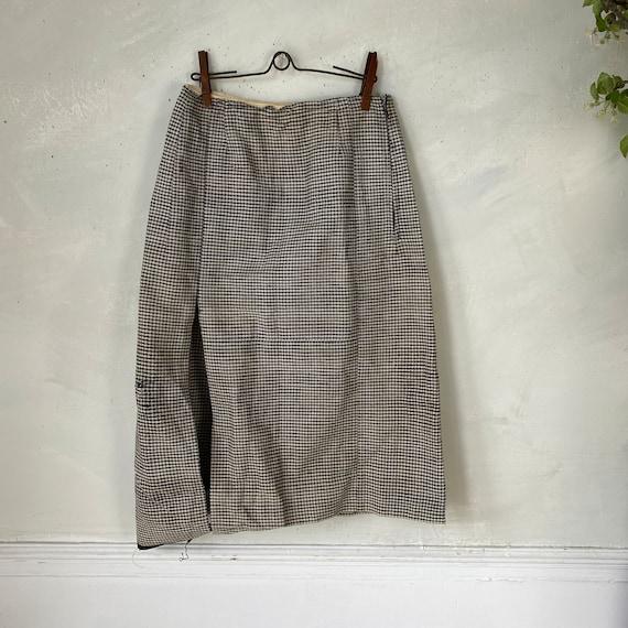 Vintage French Women's Skirt Houndstooth Skirt 19… - image 10