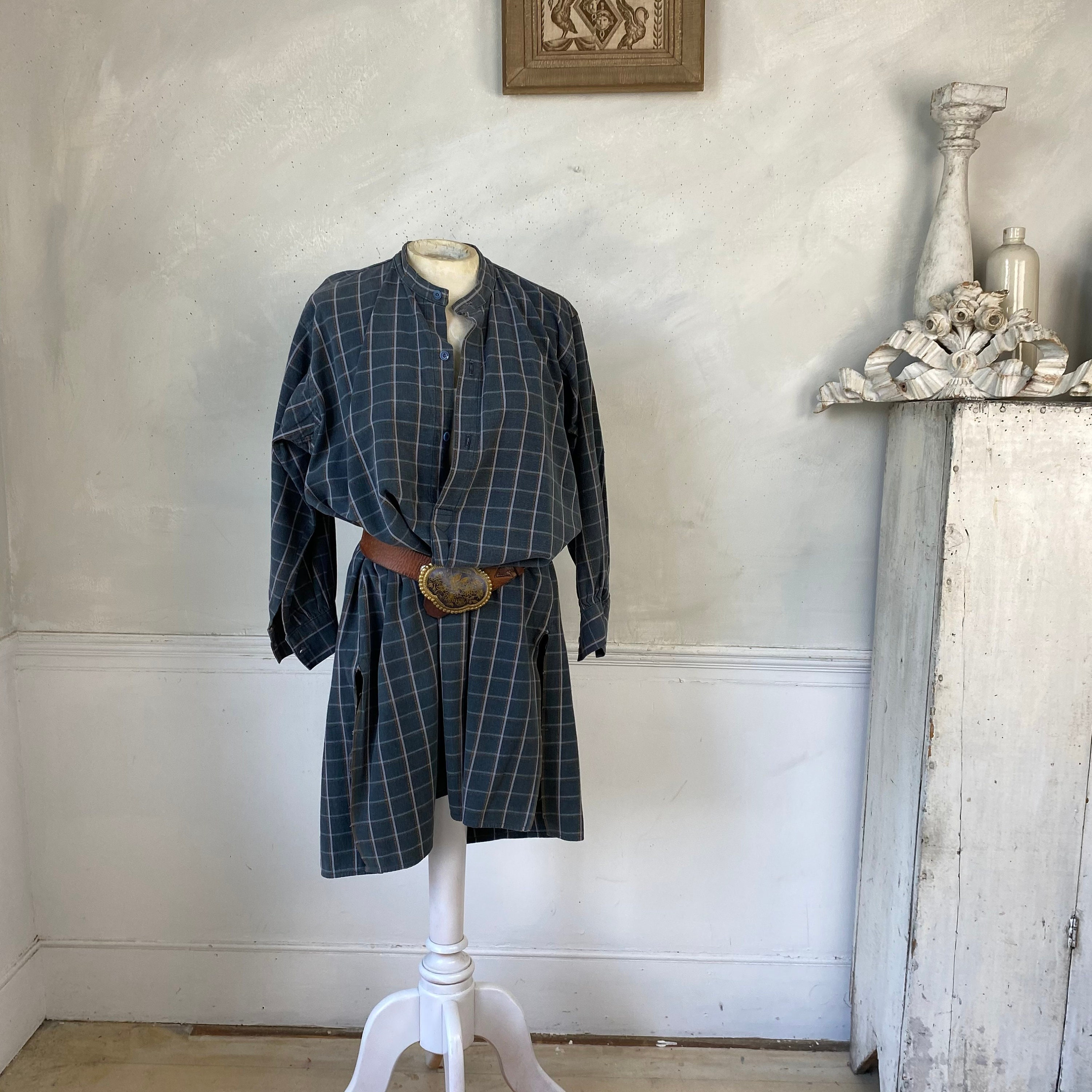 1940s Men's Shirts, Sweaters, Vests Sturdy Mens Vintage Striped Plaid Shirt Or Tunic Soft Cotton White Circa 1940S French Workwear Work Wear $155.00 AT vintagedancer.com