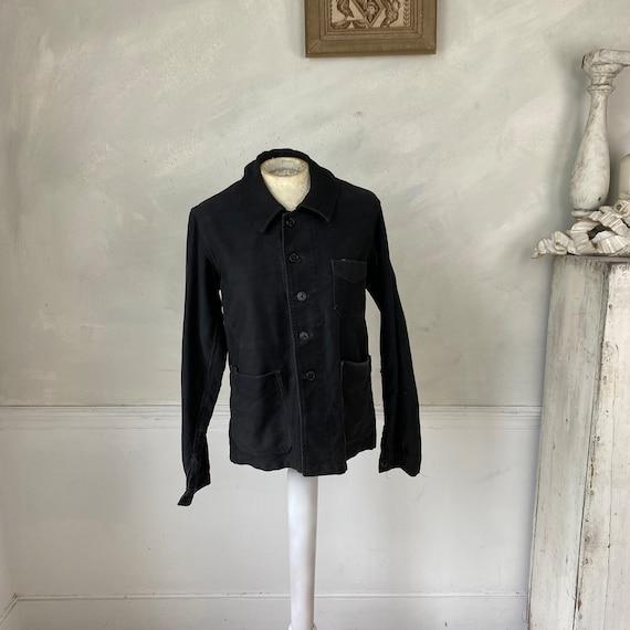 Black Moleskin Jacket 1910-20 Antique French Clot… - image 5