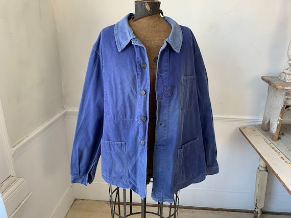 Vintage Jacket French Workwear Faded Antique Blue