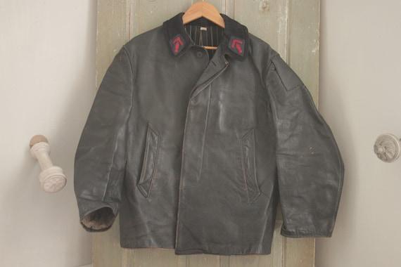 Black leather jacket coat work chore wear Vintage