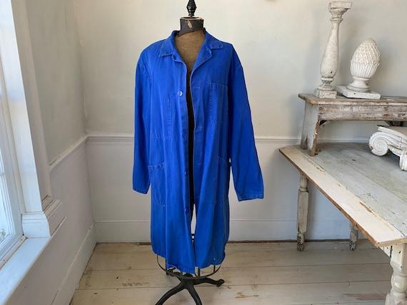 Vintage Jacket French Long Prussian Blue Lab Coat… - image 5