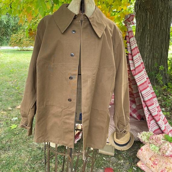 Vintage Canvas Jacket Heavy Brown Cotton Unused F… - image 2