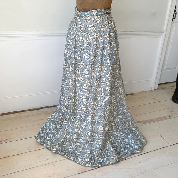 Antique Silk Skirt French blue floral Victorian lo