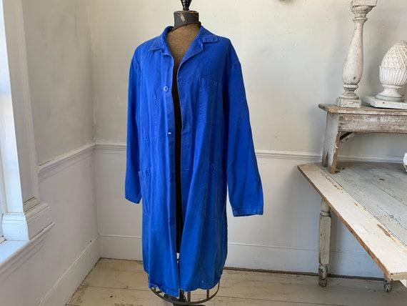 Vintage Jacket French Long Prussian Blue Lab Coat… - image 2
