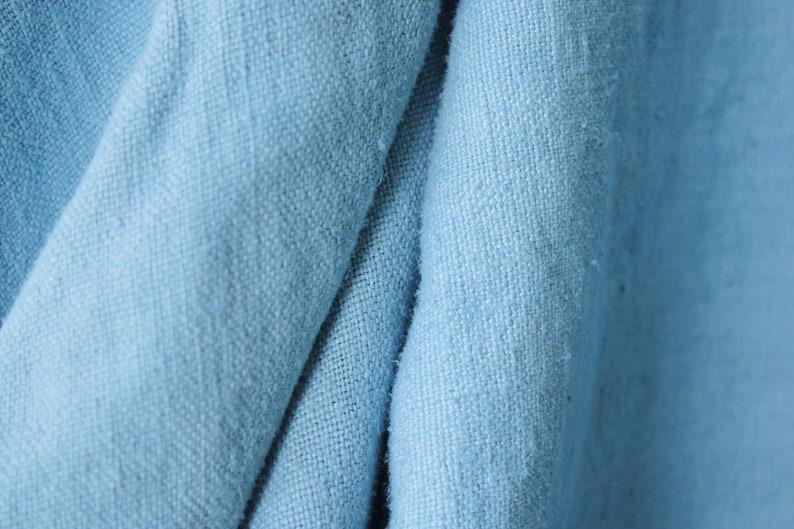 Dyed antique linen sheet blue fabric upholstery pillows c 1700/'s nubby linen