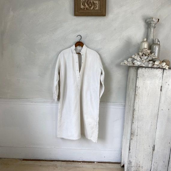 White Brushed Cotton Shirt Textured Sleepwear 192… - image 1