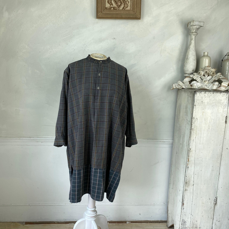 1940s Men's Shirts, Sweaters, Vests Plaid Work Wear French Shirt Vintage Shirt Chore Circa 1940 Mens Soft Cotton Open Neck Work Wear $185.00 AT vintagedancer.com