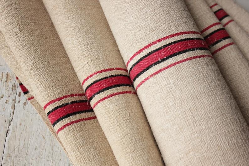 Antique European Hemp Grain Sack Gorgeous Red And Black Stripes Linens & Textiles (pre-1930)