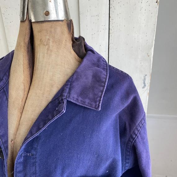 Vintage Jacket French Workwear Faded Antique Dark… - image 5