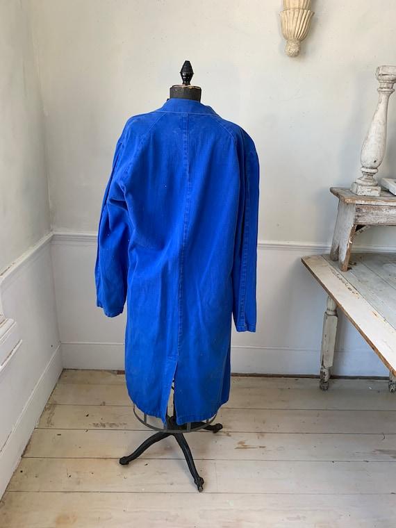 Vintage Jacket French Long Prussian Blue Lab Coat… - image 8