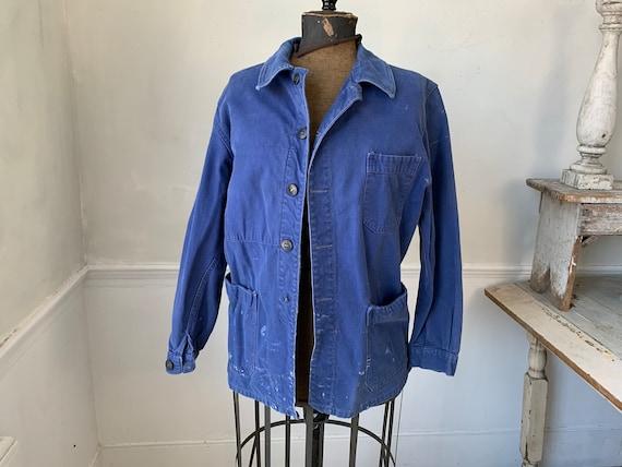 Vintage Jacket French Workwear Faded Antique Blue