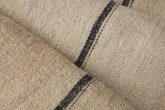 Sac tissu par l'yard noir Indigo Indigo noir Blue Red Stripe Antique Bure oreillers de projet chanvre lin d'ameublement table runner couture du grain c2b89a