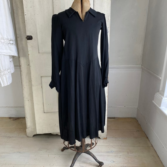 Black rayon dress 1930's 1940's fashion French dr… - image 4