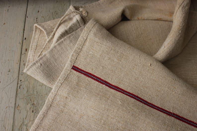 Feed & Flour Sacks Antique European Hemp Grain Sack Lovely Blue And Maroon Red Stripes